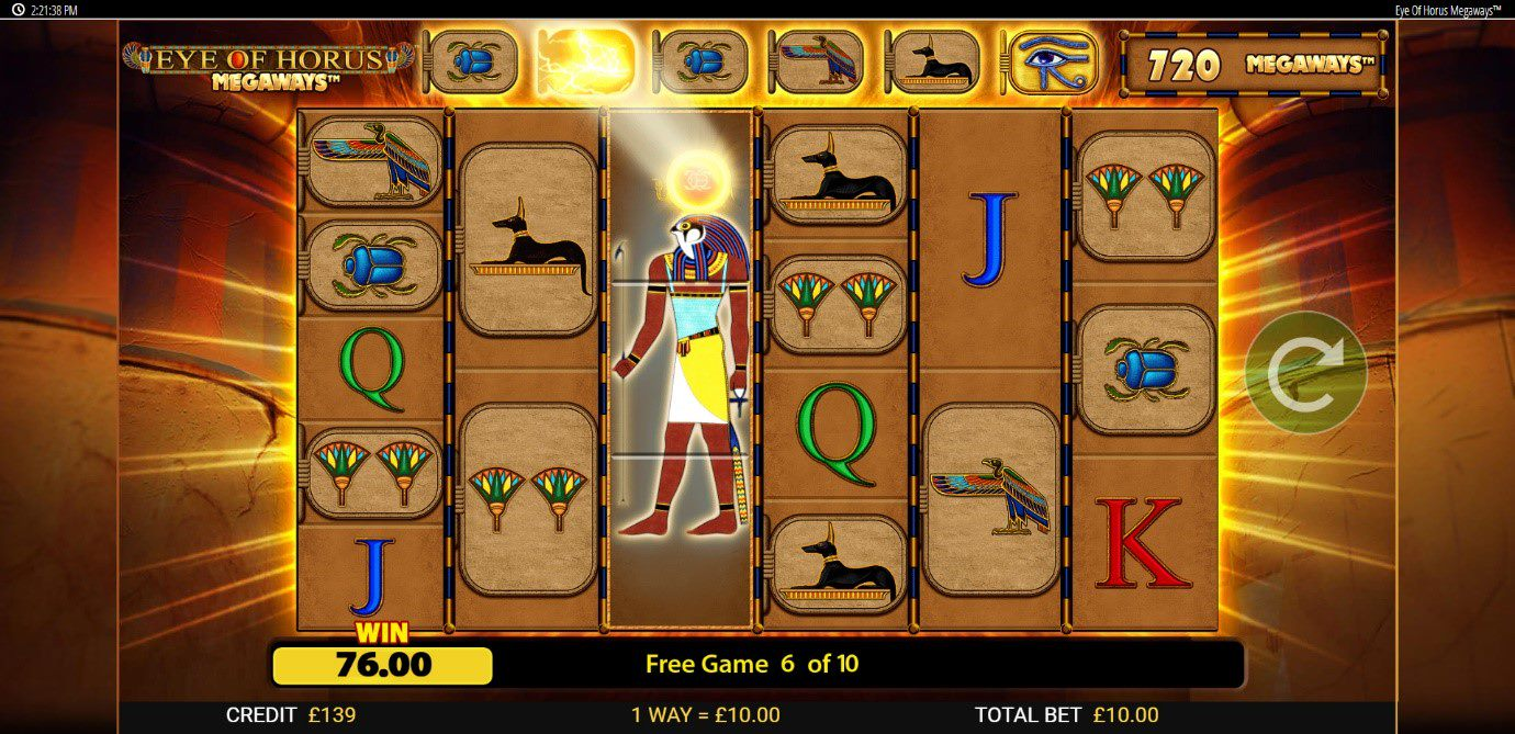 Horus upgrades tablets during Free Spins feature