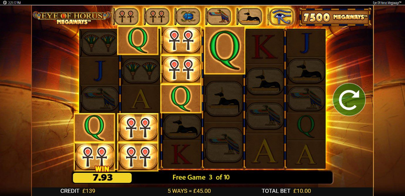 Play over 15,000 paylines on Eye of Horus Megaways at PlayOJO
