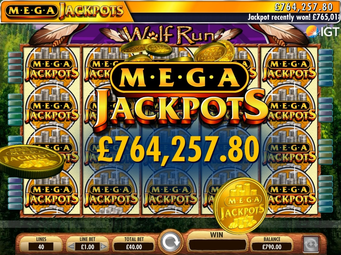 Mega Jackpot win on IGT's Wolf Run online slot