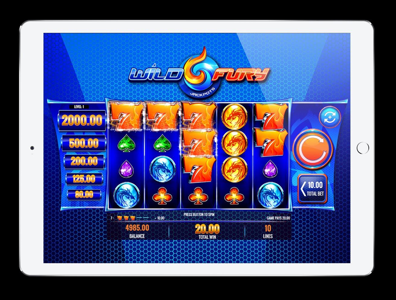 Play the Wild Fury Jackpots slot on iPad at PlayOJO casino