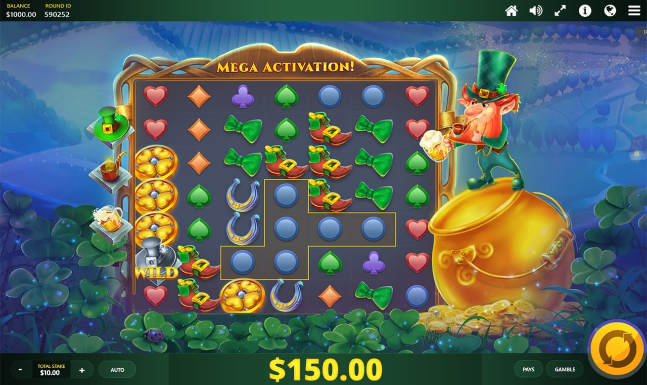 Jack in A Pot online slot with grid format and cascading symbols