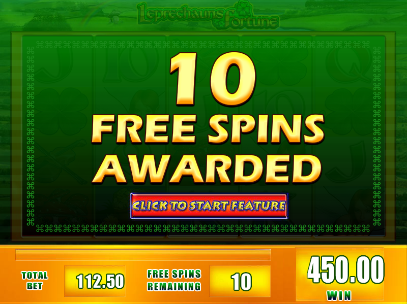 Leprechaun's Fortune slots game gives 10 free spins awarded