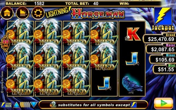 Wild symbols cover the reels on Lightning Horseman online slot
