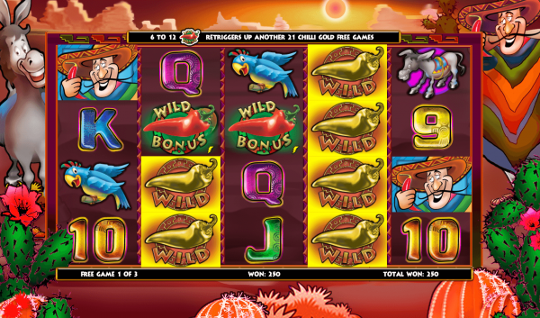 Wild and Scatter symbols displayed on the reels of the Extra Chilli online slot game