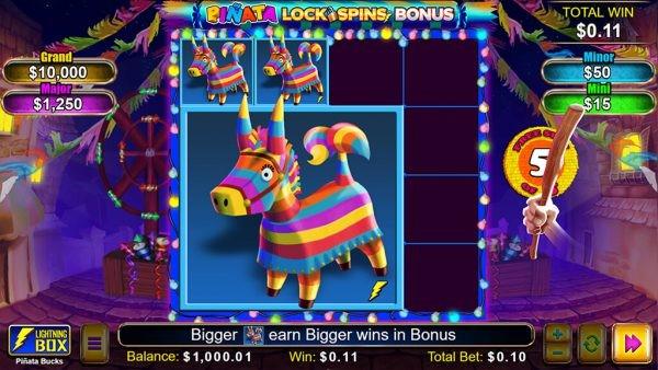 Bonus feature from Piñata Bucks video slot by Lightning Box Games