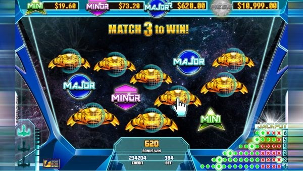 Final round of Stellar Jackpots feature including jackpot symbol-matching game