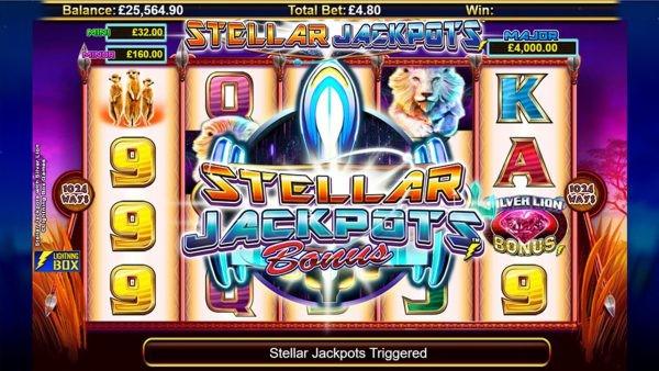 Stellar Jackpots bonus triggered on Silver Lion slot