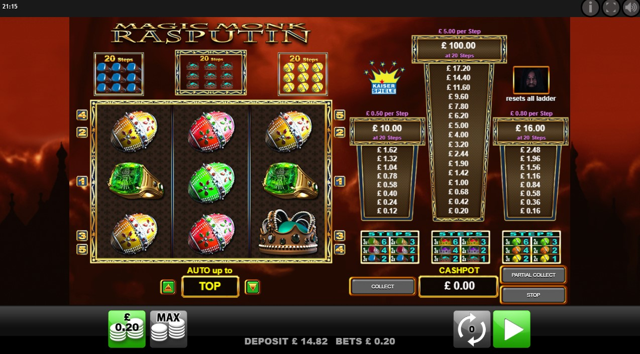 Reels and prizes ladders from OJO's Magic Monk Rasputin online slot