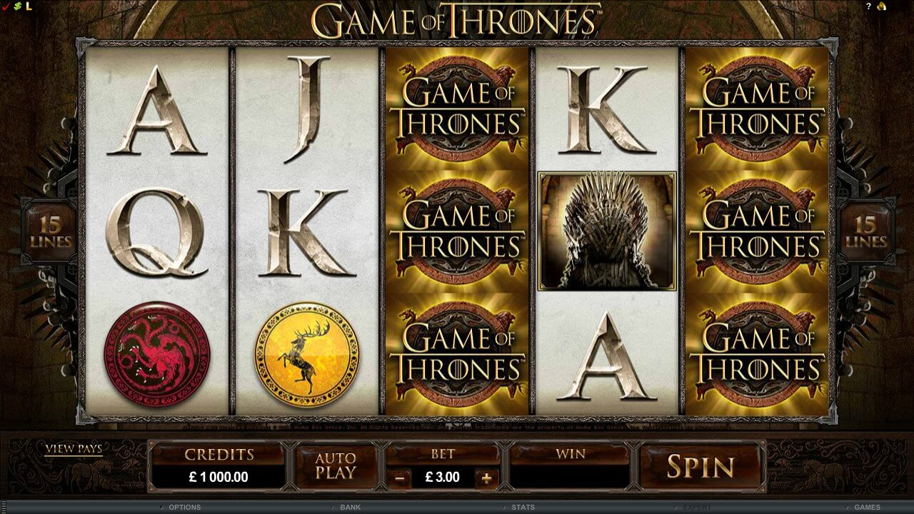 Microgaming Game of Thrones 15 Lines online slot with Wild and Scatter symbols