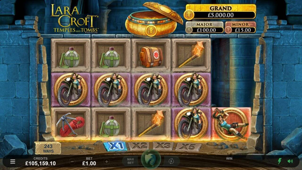 Base game wins in the Lara Croft Temples and Tombs video slot by Microgaming