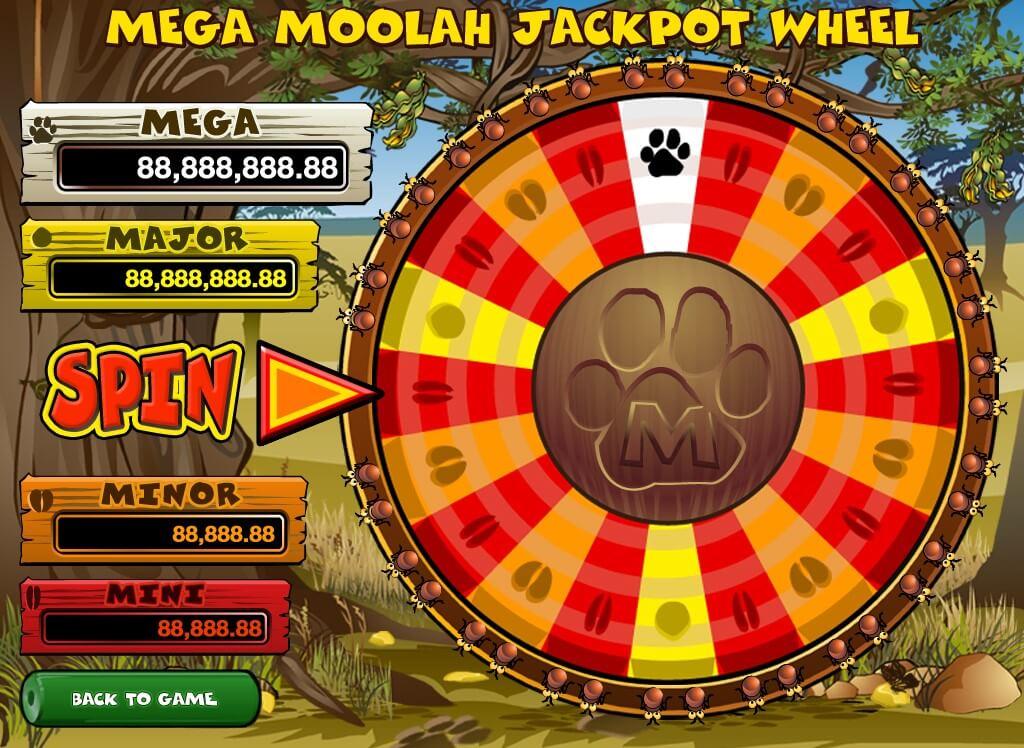 Jackpot wheel bonus feature from Microgaming's Mega Moolah progressive jackpot slot