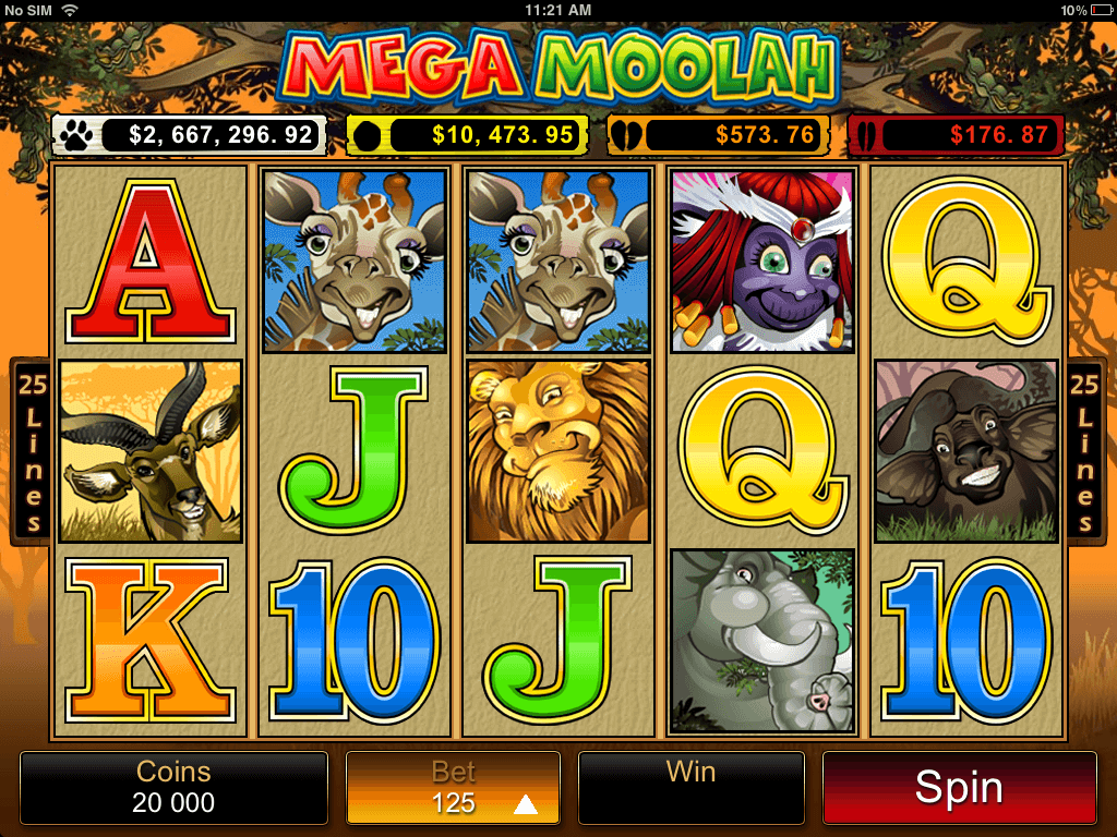 Mega Moolah mobile slot screenshot with bet buttons, animal symbols and jackpot feeds
