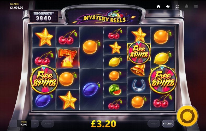 3 Free Spins symbols trigger the Free Spins bonus feature on Mystery Reels MegaWays slot