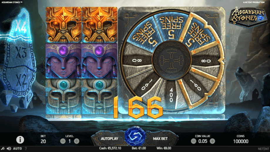 Free Spins feature in NetEnt Asgardian Stones online slot at PlayOJO
