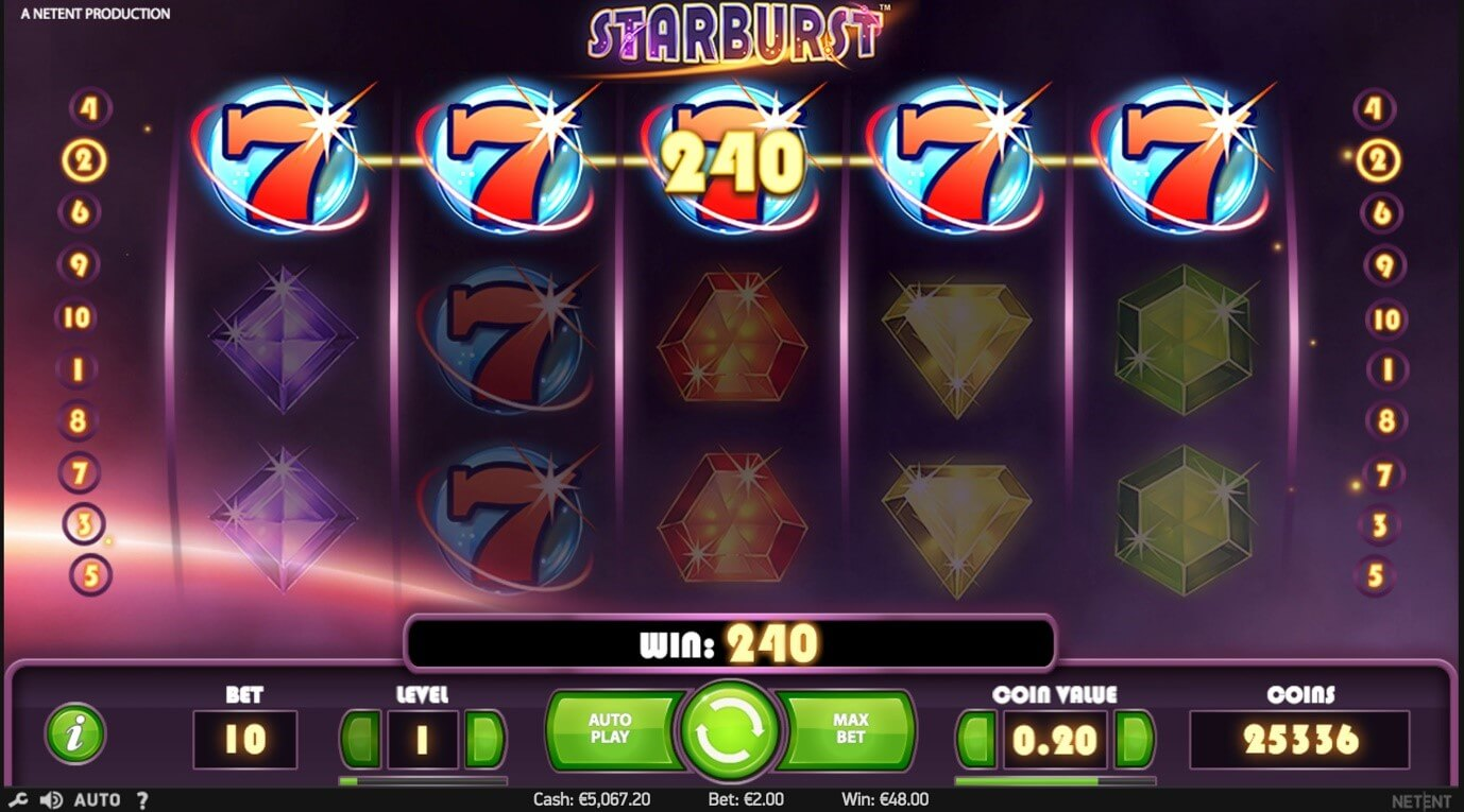 Screenshot of NetEnt's famous Starburst mobile slot