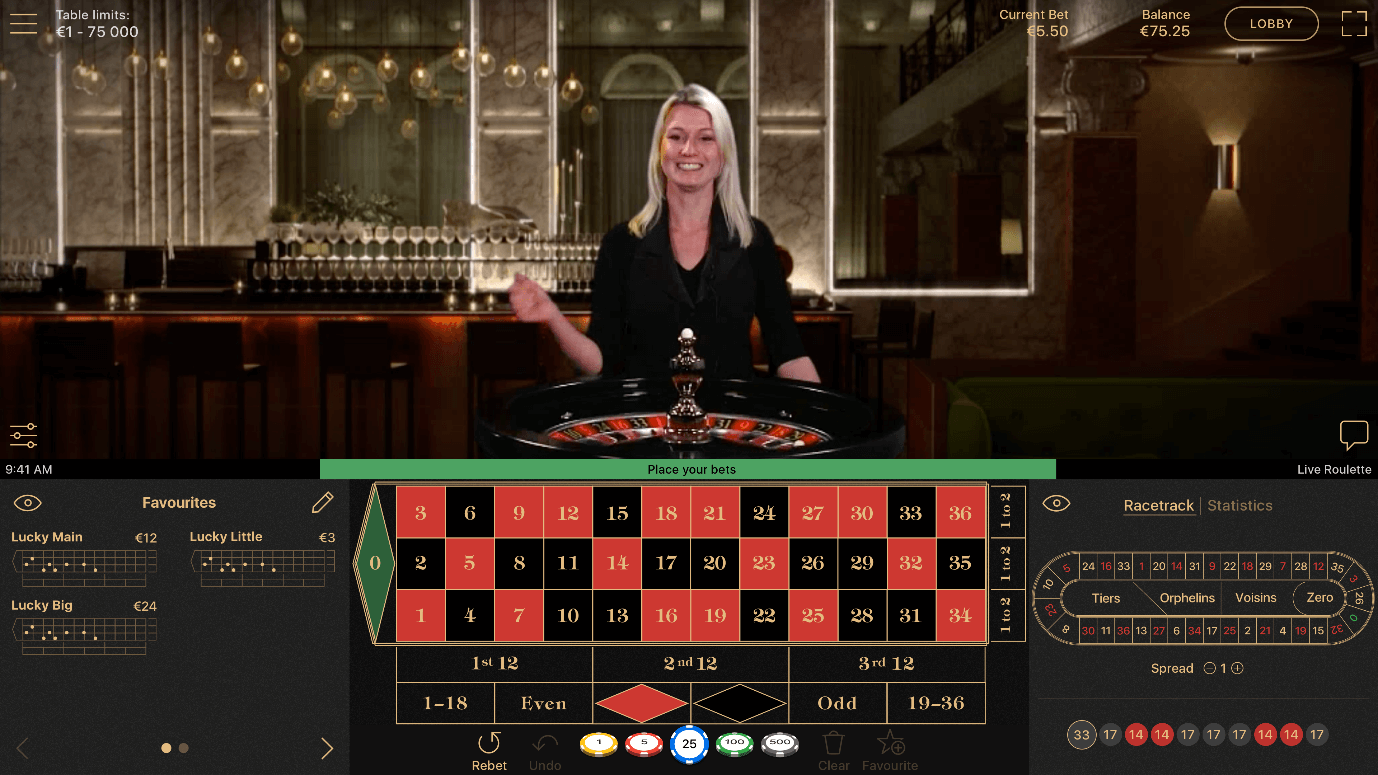 Play NetEnt Live Roulette  for live streamed dealers and instant table game wins
