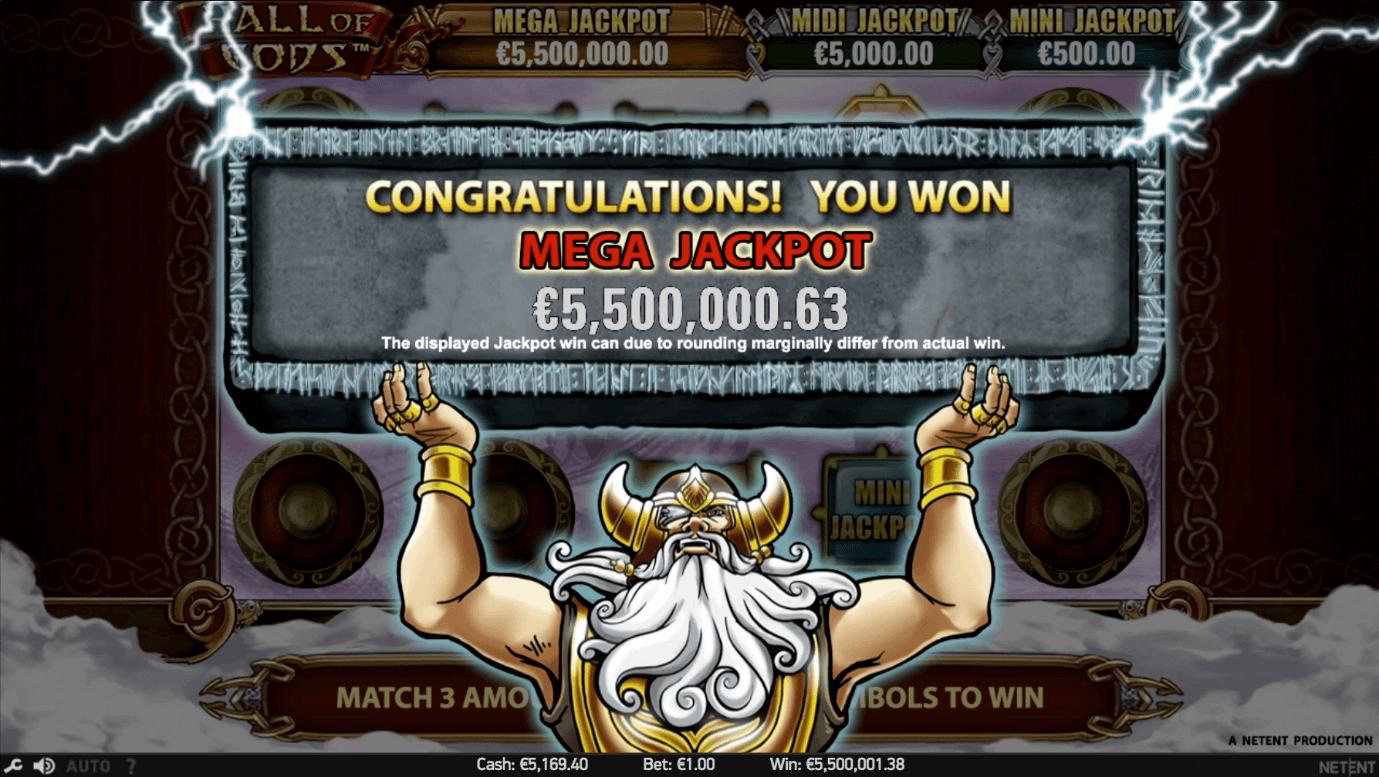 How a Mega jackpot win looks on NetEnt's Hall of Gods video slot