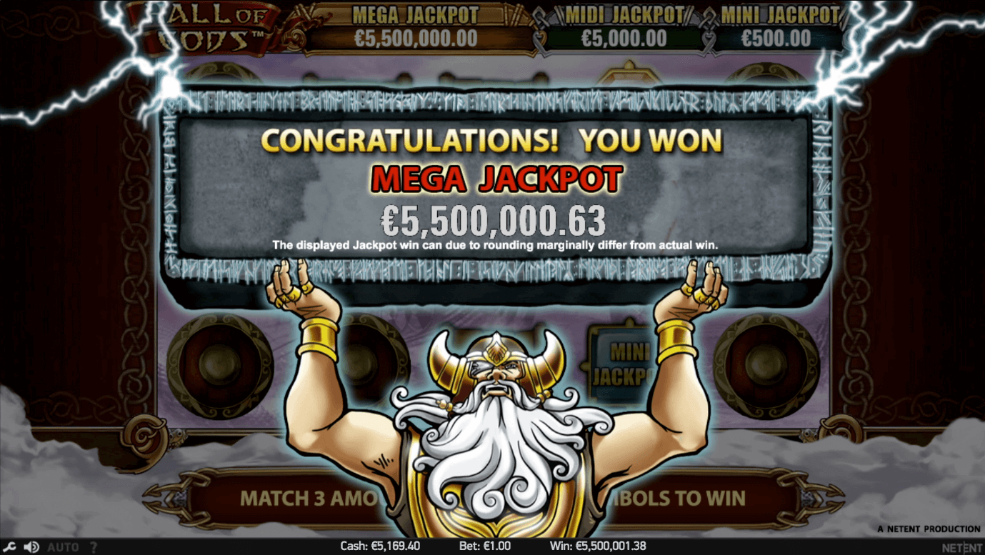 How a Mega jackpot win looks on NetEnt's Hall of Gods video slot