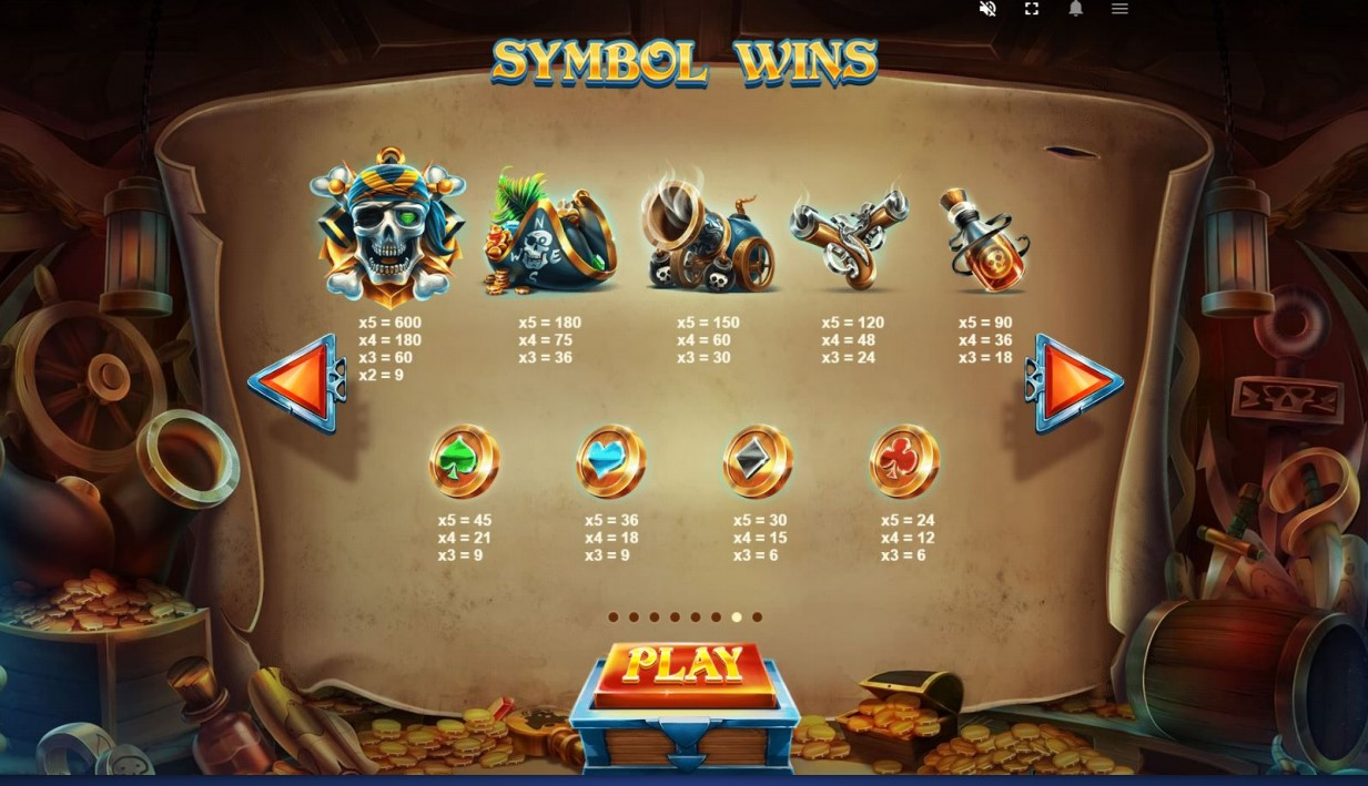 Paytable from Pirates Plenty Battle For Gold slot