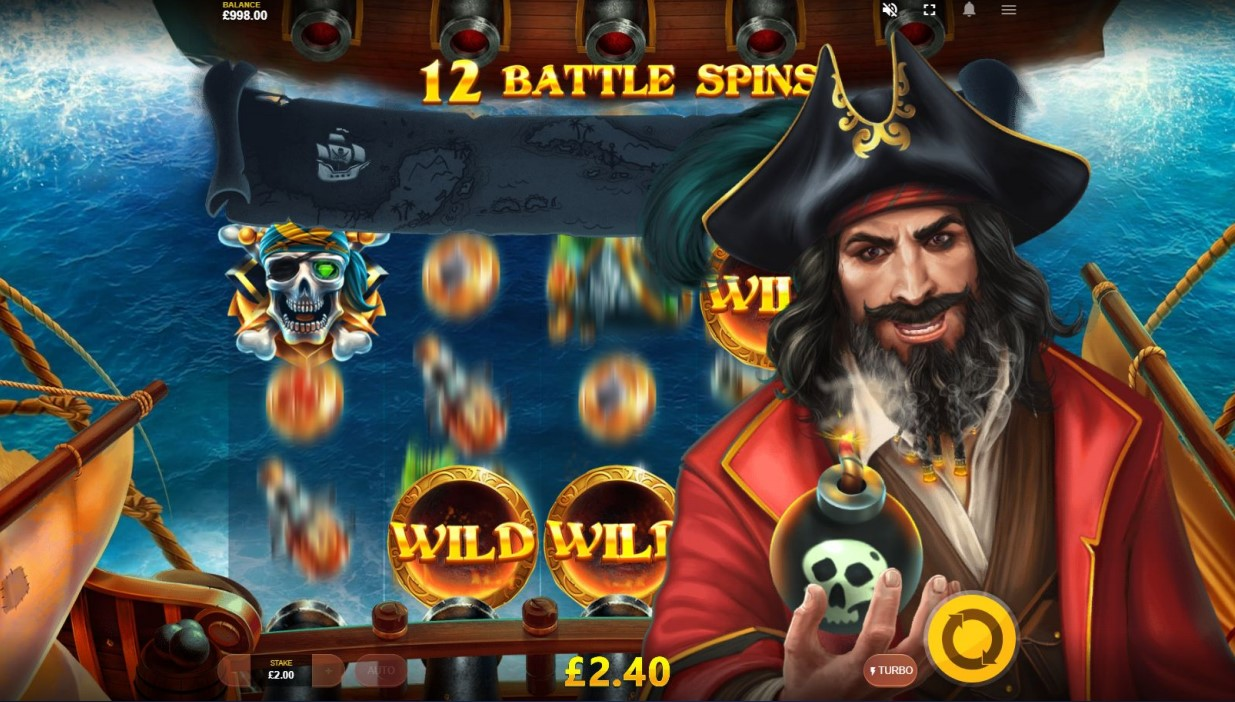 Wild Bombs bonus during Battle Spins feature in Pirates Plenty Battle For Gold game
