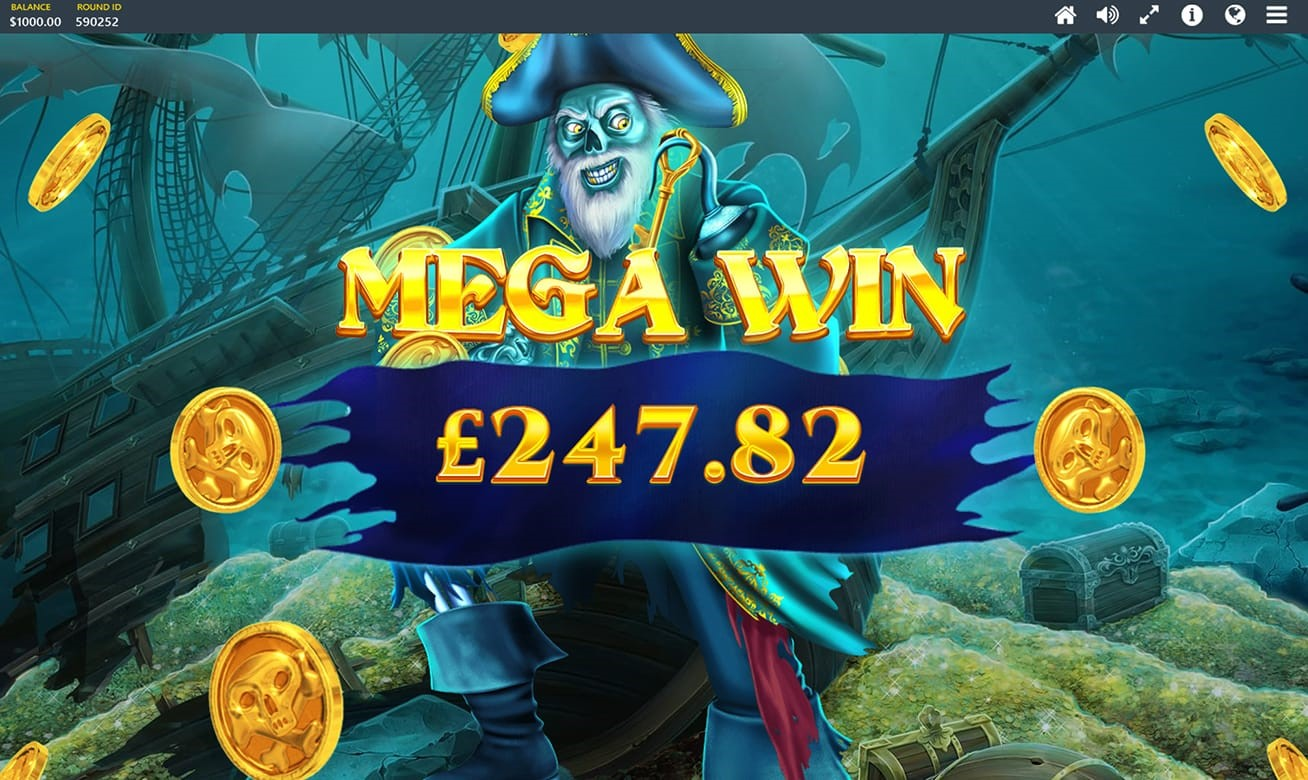 Big Win screen from Red Tiger's Pirates Plenty The Sunken Treasure slot