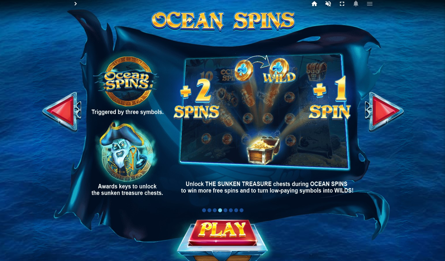 Ocean Spins bonus feature info screen on Pirates Plenty The Sunken Treasure slot