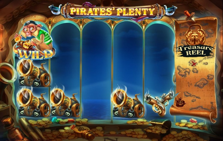 Win big with the Wild Monkey feature on Pirates Plenty The Sunken Treasure slot game