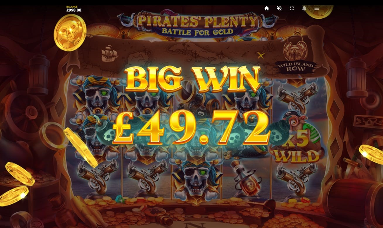 Big Win screen from PlayOJO's Pirates Plenty Battle For Gold slot