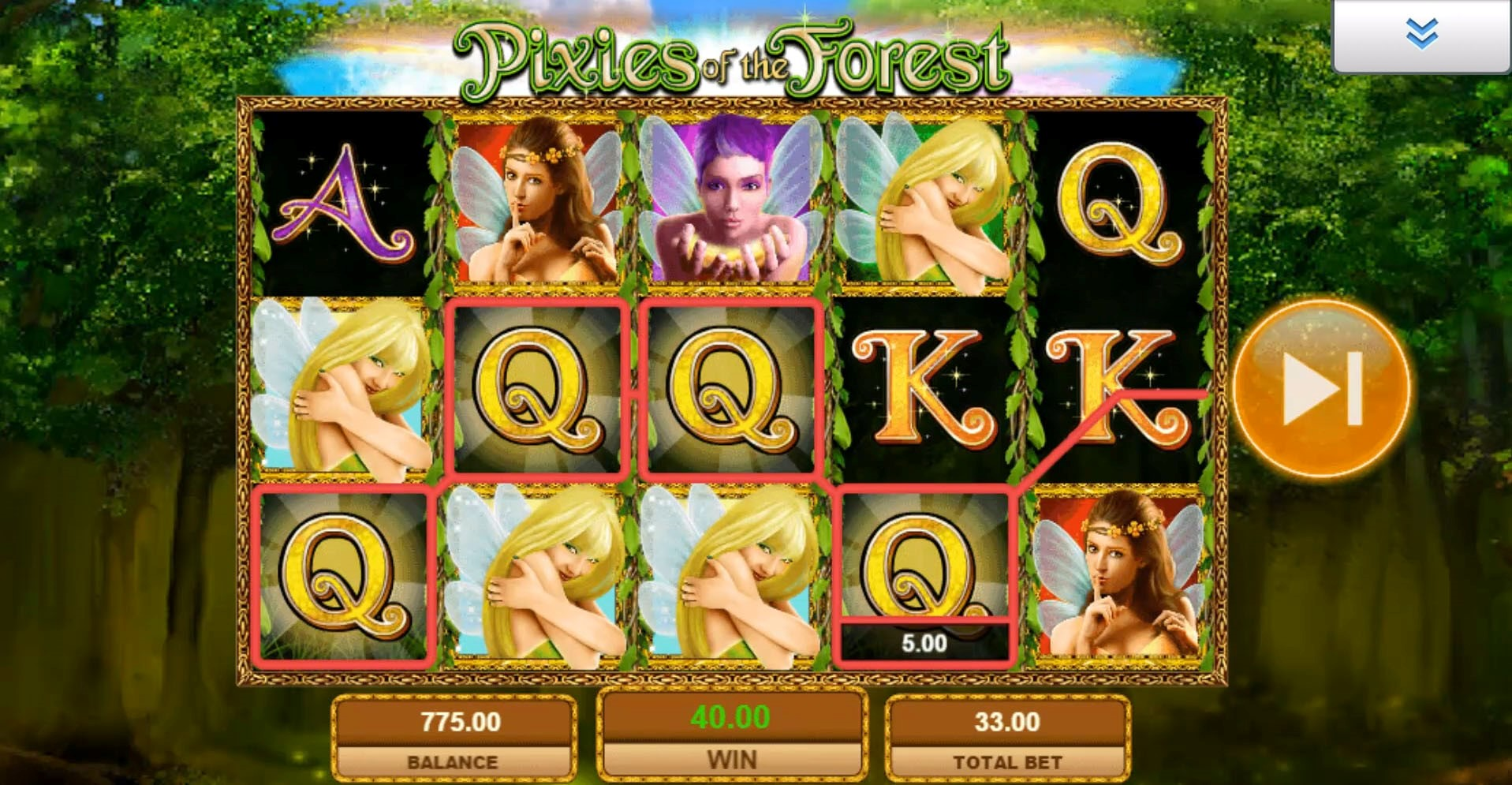 Pixies of the Forest mobile slot game from IGT produces multi-line win