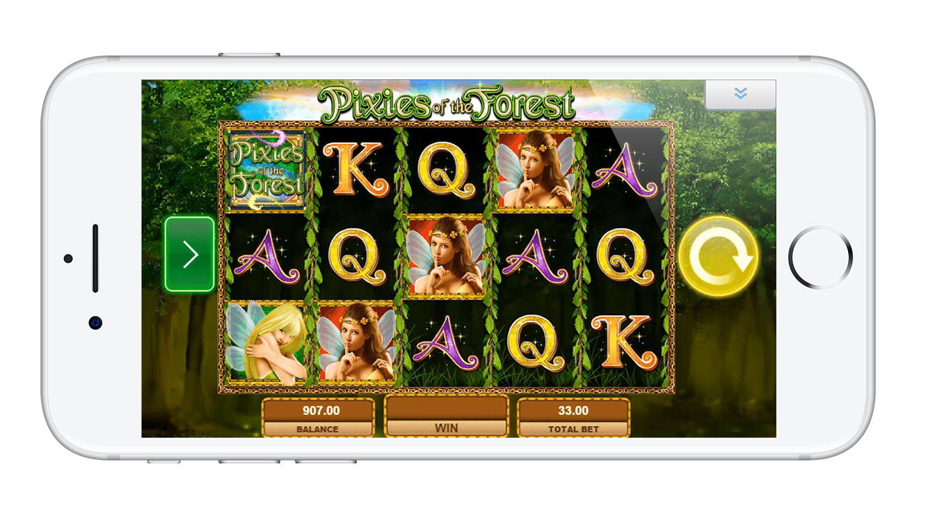 The clean, simple design of PlayOJO's Pixies of the Forest slot on iPhone