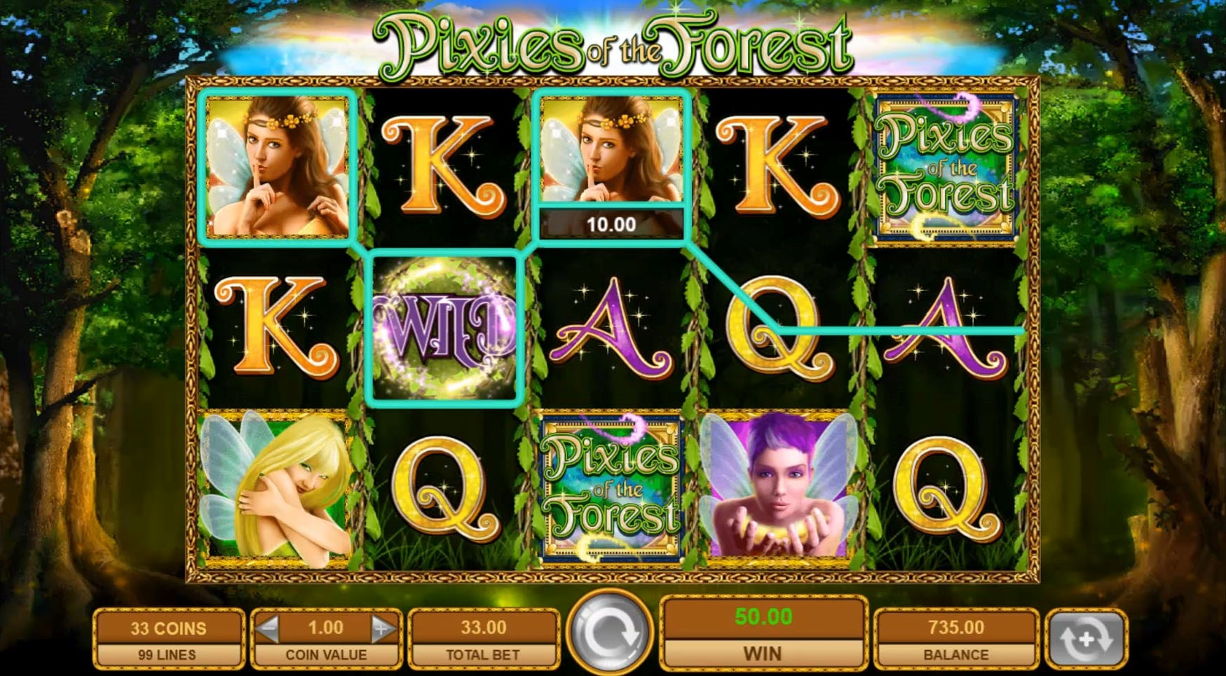 A base game win involving a Wild symbol during the Pixies of the Forest slot online