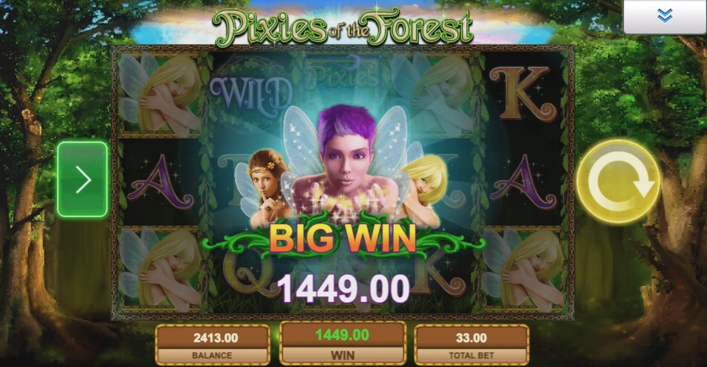 How the Big Win screen looks on IGT's Pixies of the Forest online slot machine