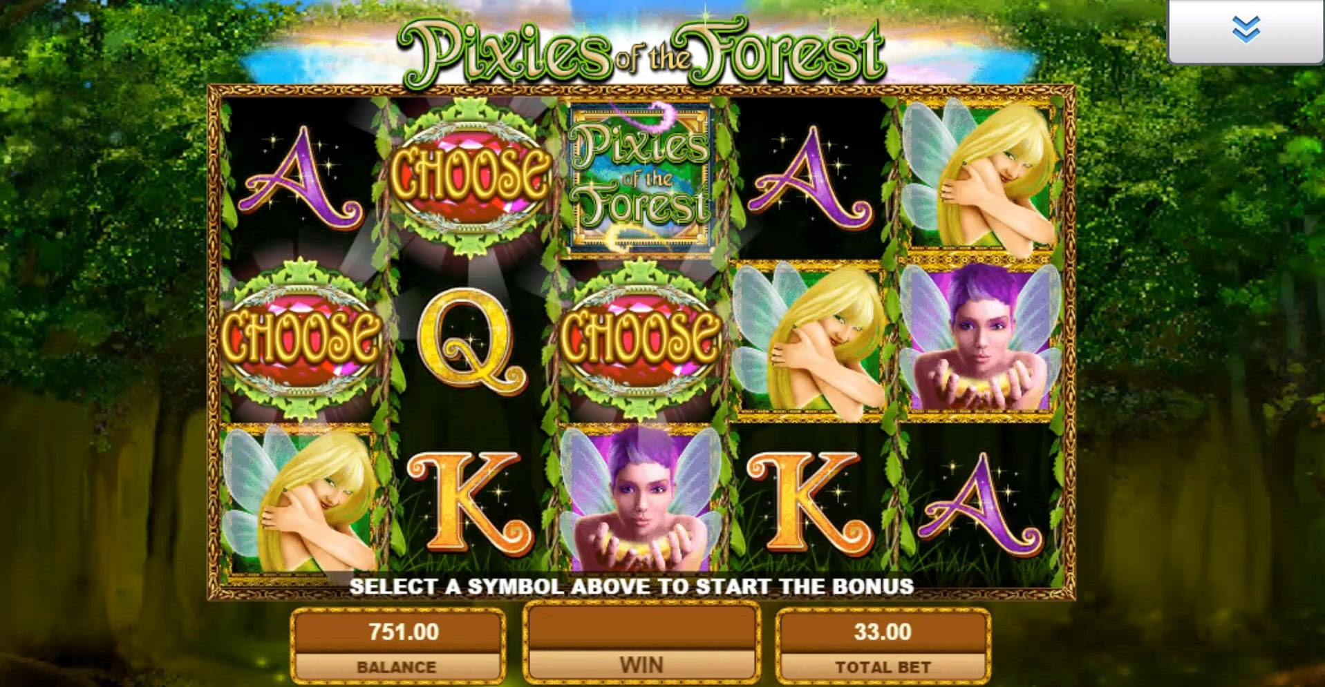 Choose a symbol to reveal the number of Pixies of the Forest slot Free Spins