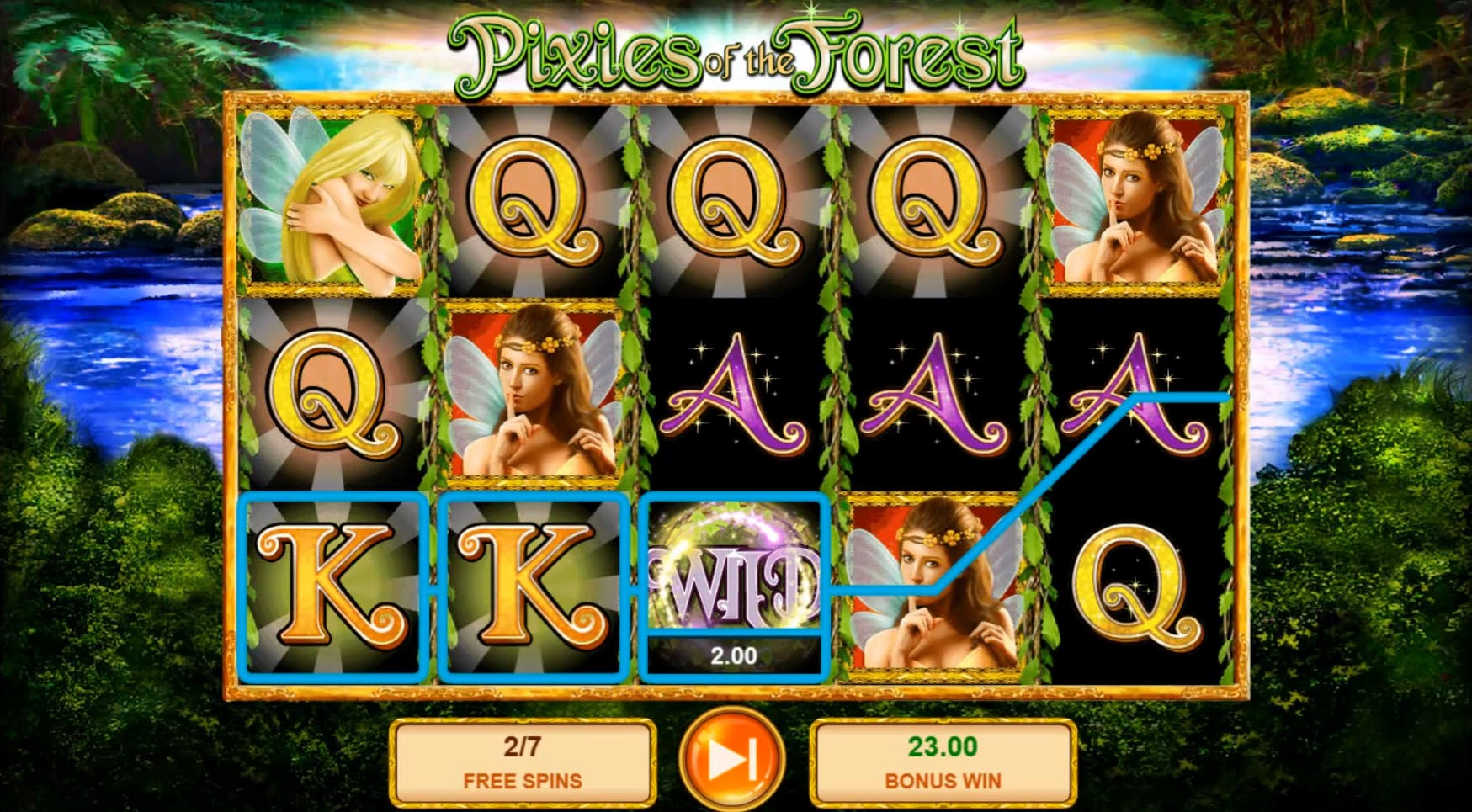 A Free Spins bonus game win is awarded during the Pixies of the Forest slot game