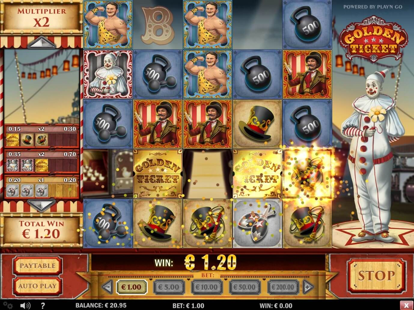 Base game of Golden Ticket online slot from PlayOJO