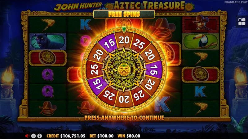 Free Spins wheel from John Hunter and the Aztec Treasure online slot