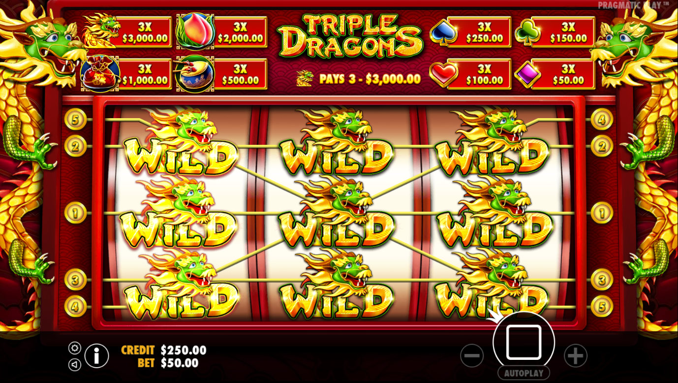 Wild symbols on all reels during Triple Dragons video slot game