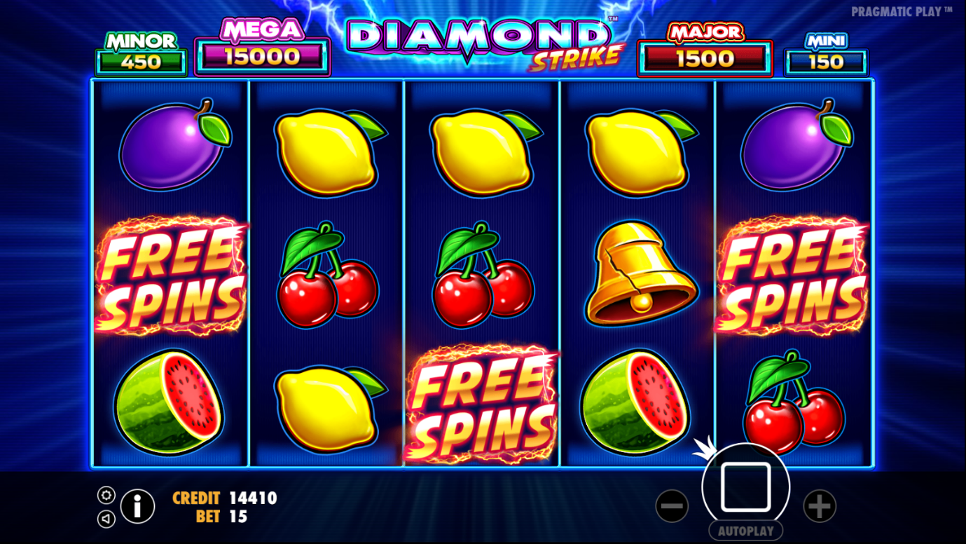 : Free Spins scatter symbols on reels of Diamond Strike online slot at PlayOJO