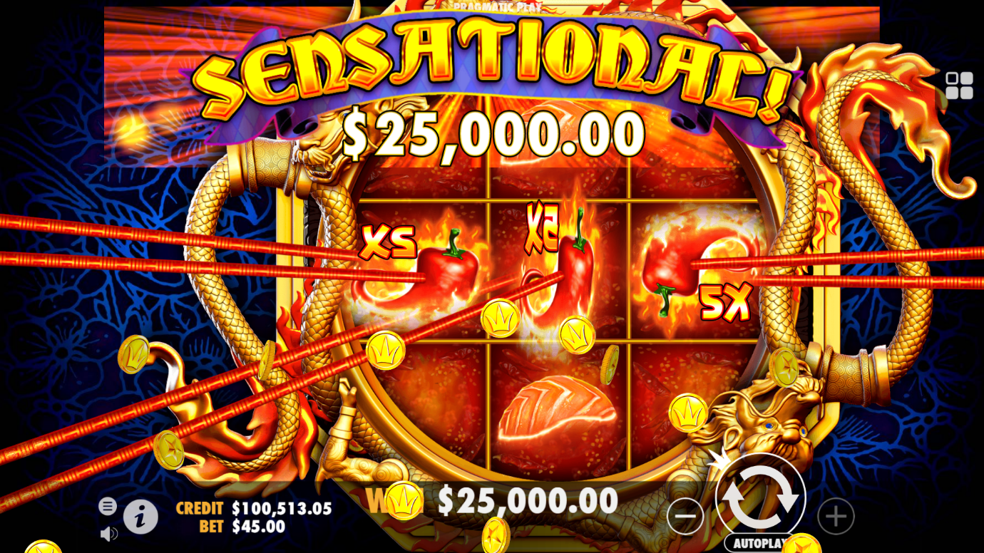 Big win screen from Pragmatic Play's Hot Chilli online slot