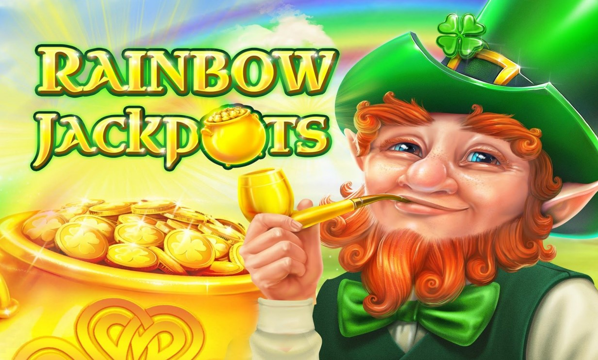 Game logo and art from Red Tiger Gaming's Rainbow Jackpots slot