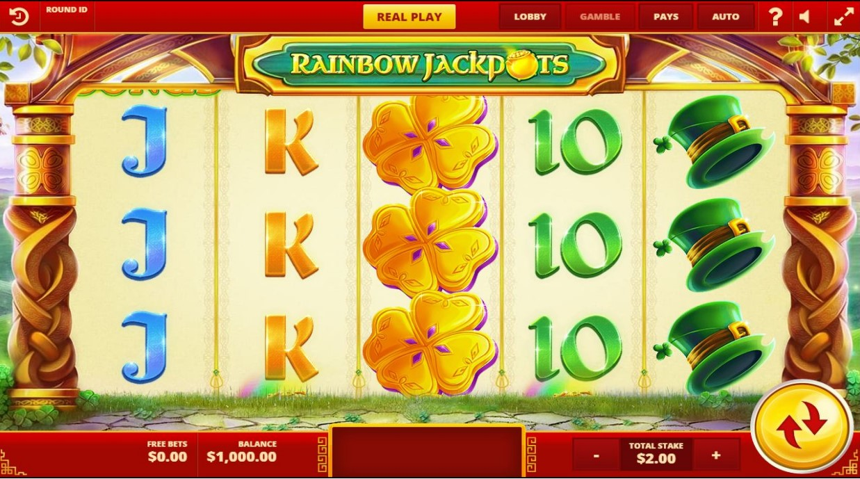 Hat, clover and card symbols on Rainbow Jackpot slot reels