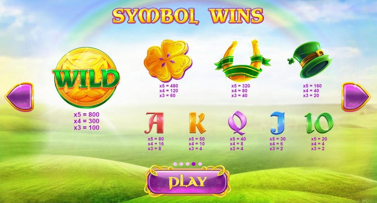Rainbow Jackpots online slot paytable information