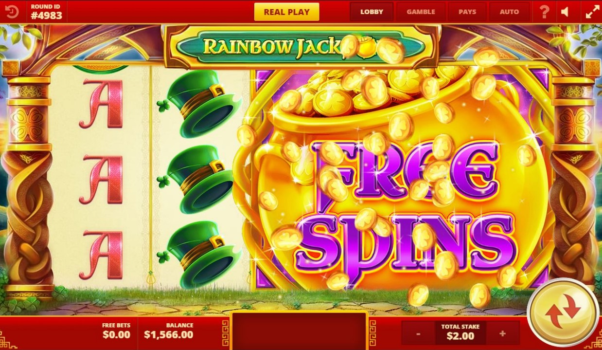 Mega Free Spins symbol appears during Rainbow Jackpots slot game