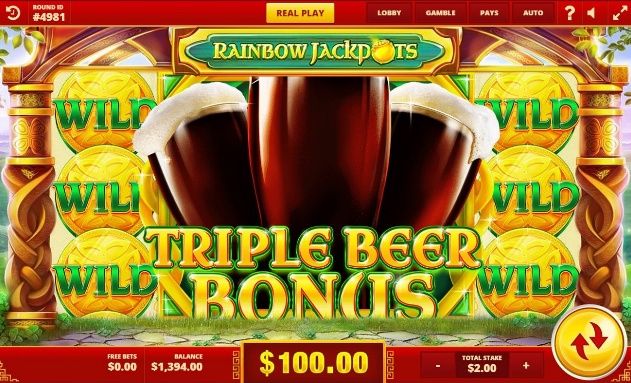 Triple Beer Bonus feature from Red Tiger's Rainbow Jackpots slot