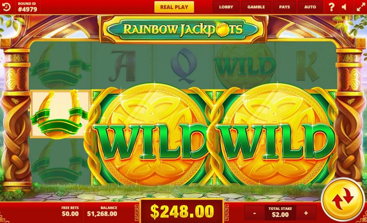 Rainbow Jackpots slot's Mega Symbols Swap feature