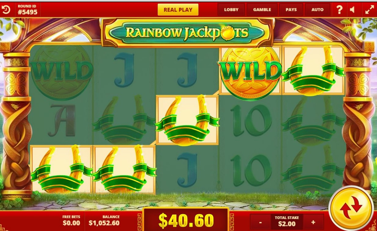 Symbol Swap bonus feature from Rainbow Jackpots slot by Red Tiger Gaming