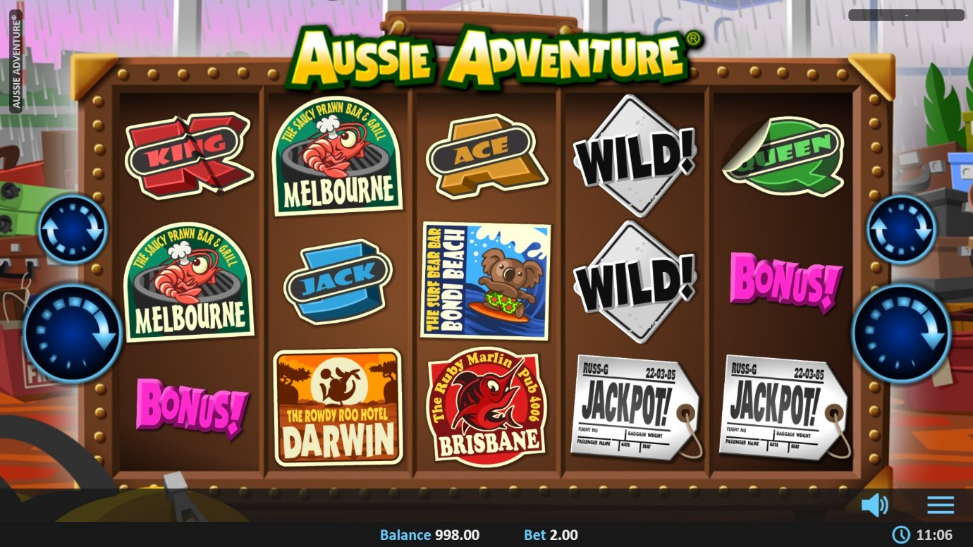 Base game spin from Aussie Adventure video slot by Realistic Gaming