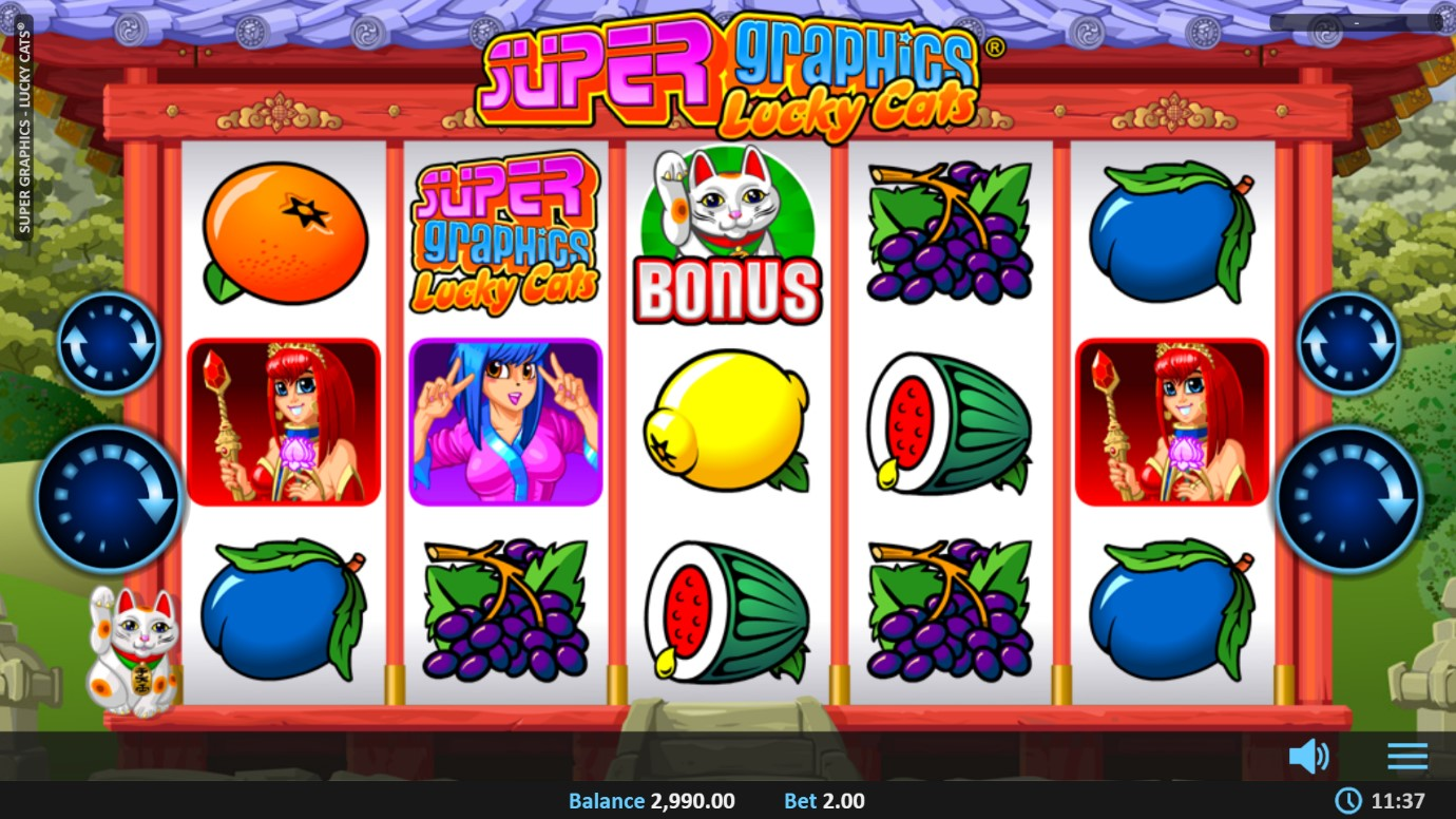 Super Graphics Lucky Cats mobile slot from Realistic Games