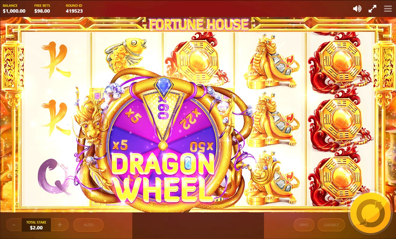 :Dragon Wheel bonus feature during Fortune House video slot game