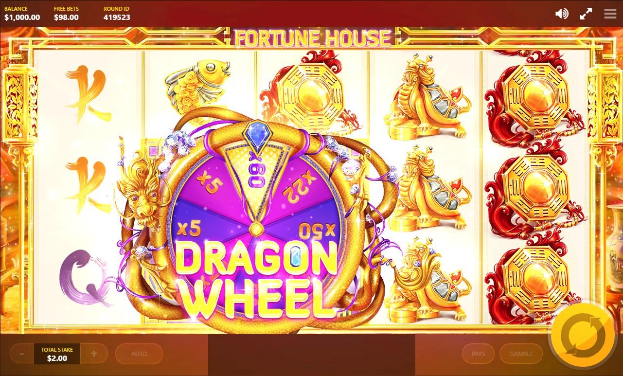 :Dragon Wheel bonus feature during Fortune House video slot game